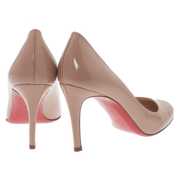 Christian Louboutin Nude Patent Simple Pump Size 37.5