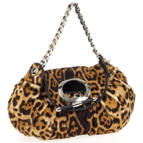 Dior Pony Hair Leopard Printed Jazz Club Shoulder Bag
