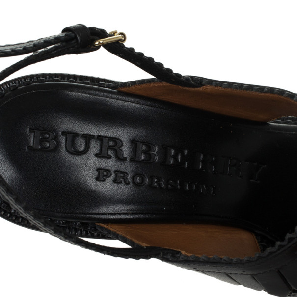 Burberry Prorsum Black Leather Fringe Platform Sandals Size 37