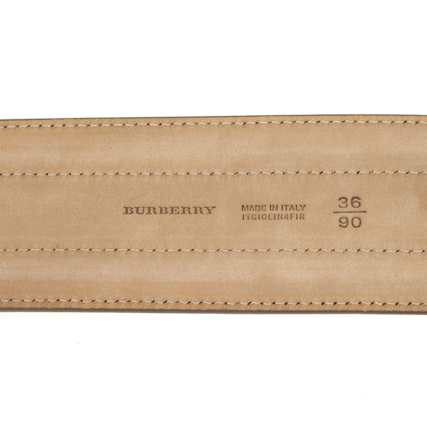 Burberry Beige Leather Keswick Belt Size 90
