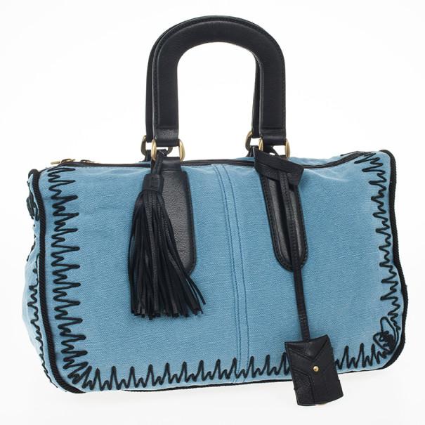 Yves Saint Laurent Light Blue Embroidered Boston Bag