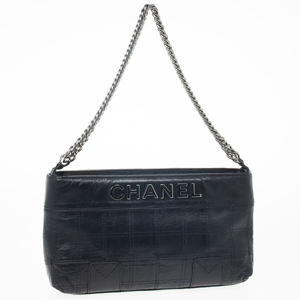 Chanel Black Square Stitched Quilted Leather Shoulder Bag