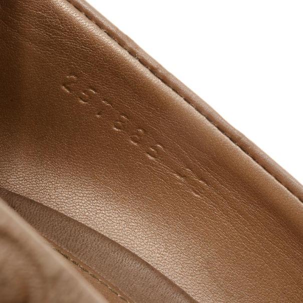Gucci Tan Guccissima Leather New Hollywood Horsebit Peep Toe Pumps Size 40