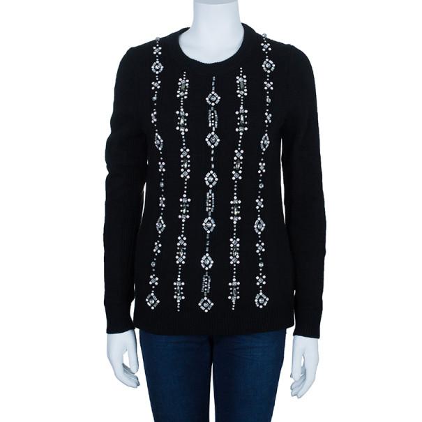Tory Burch Etta Embellished Knit Sweater M