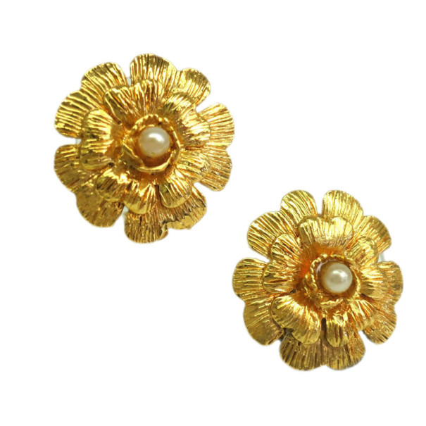Chanel Flower Gold Plated Clip Earrings
