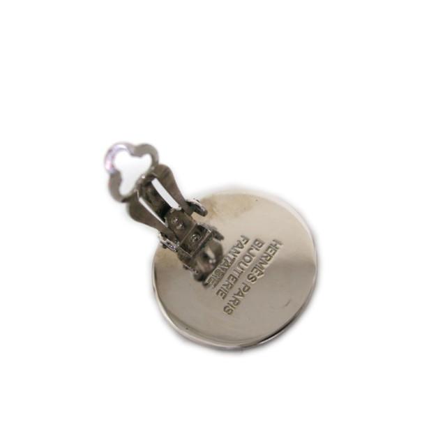 Hermes Clous De Selle Pierced Earrings Silver Tone Metal