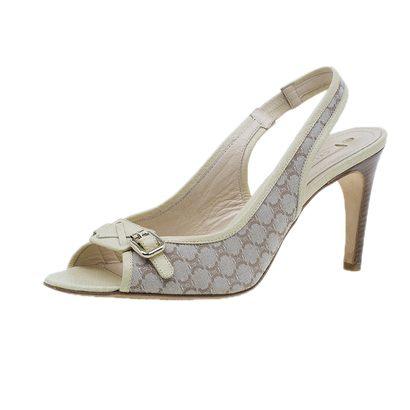 Celine Cream Monogram Canvas and Leather  Sandals Size 38.5