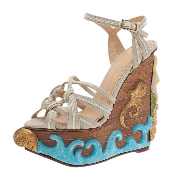 Charlotte Olympia Beige Canvas Maiden Voyage Wedge Sandals Size 37