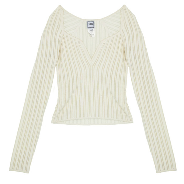 Herve Leger Long Sleeve Cream Fitted Top L