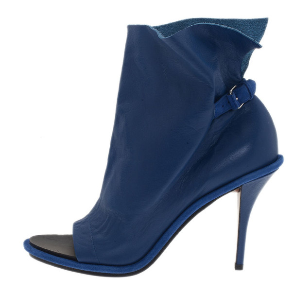 Balenciaga Blue Leather Glove Ankle Boots Size 40
