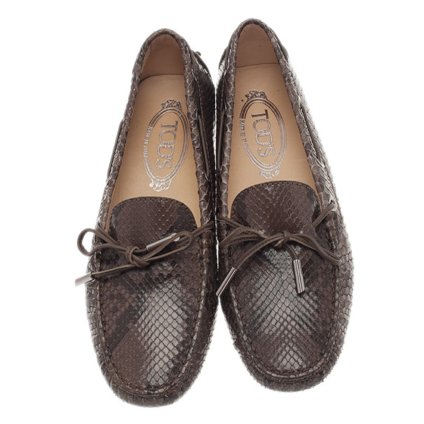 Tod's Brown Python Leather Loafers Size 37