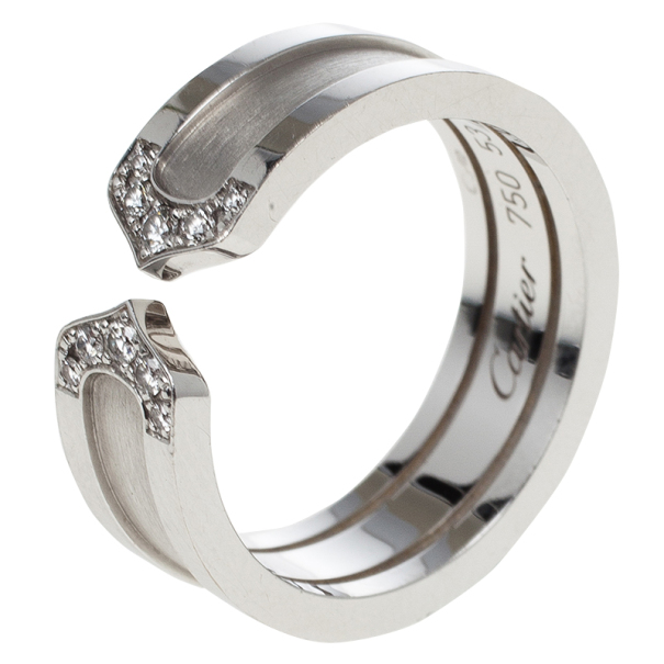 Cartier double c white gold and diamonds wedding band size 53 buy prevnext junglespirit Gallery