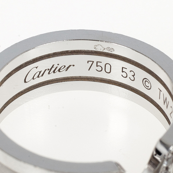 Cartier Double C White Gold and Diamonds Wedding Band Size 53