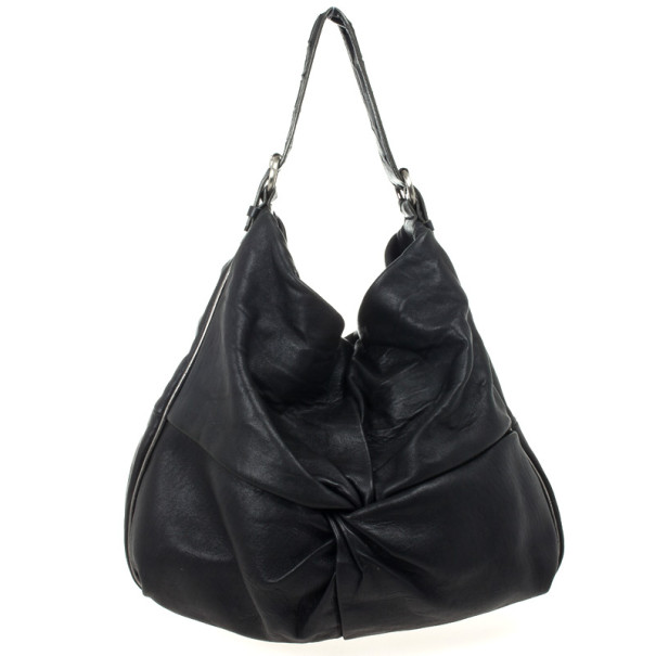 Marc by Marc Jacobs Black Leather Twisted Knot Hobo