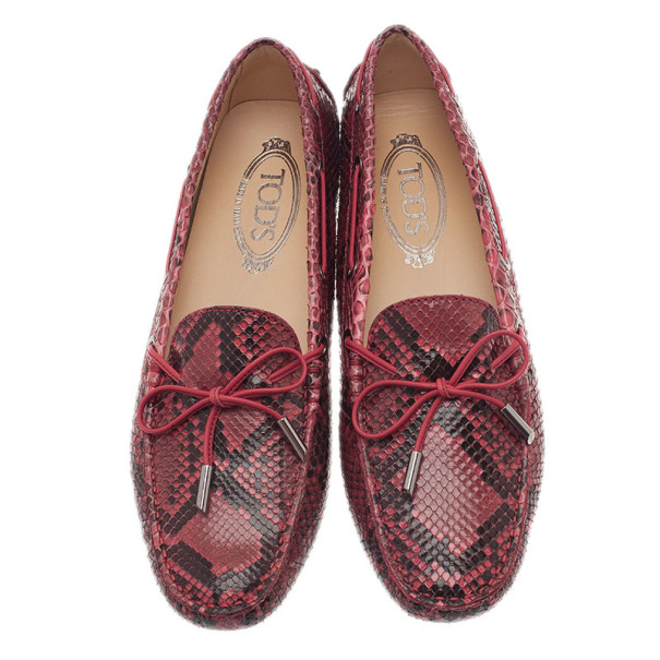 Tod's Red Python Leather Loafers Size 39.5