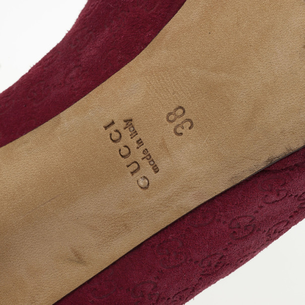 Gucci Raspberry Suede Guccissima 'New Hollywood' Horsebit Peep Toe Pumps Size 38