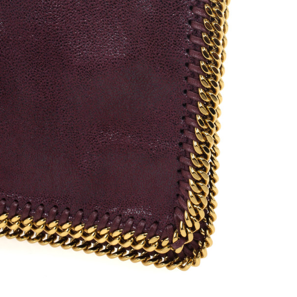 Stella McCartney Falabella Shaggy Deer Burgundy Fold Over Clutch