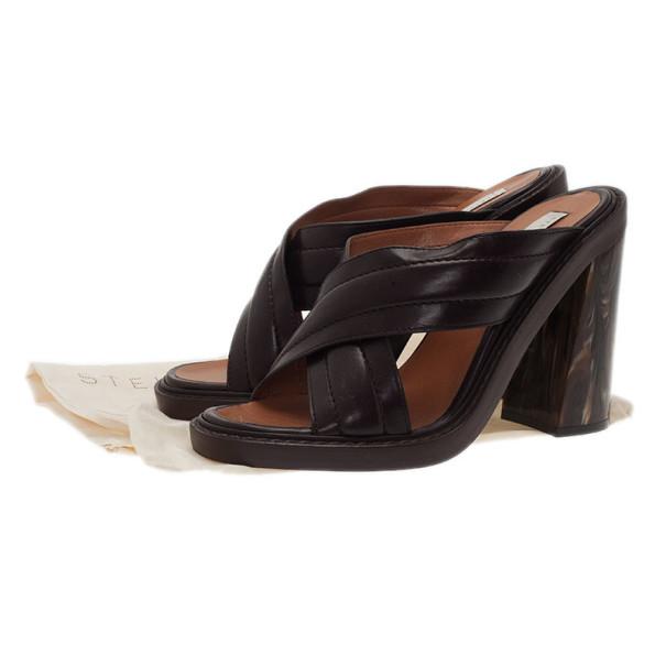 Stella McCartney Brown Faux Leather Veneer CrissCross Slides Size 39