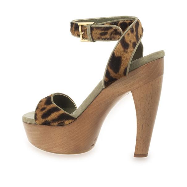 Alexander McQueen Leopard Pony Hair Wooden Sandals Size 39.5