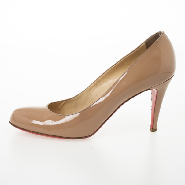 Christian Louboutin Nude Patent Simple Pumps Size 41