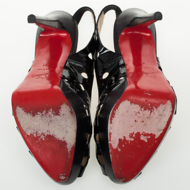 Christian Louboutin Black Patent Ginza 140mm Platform Slingback Sandals Size 41