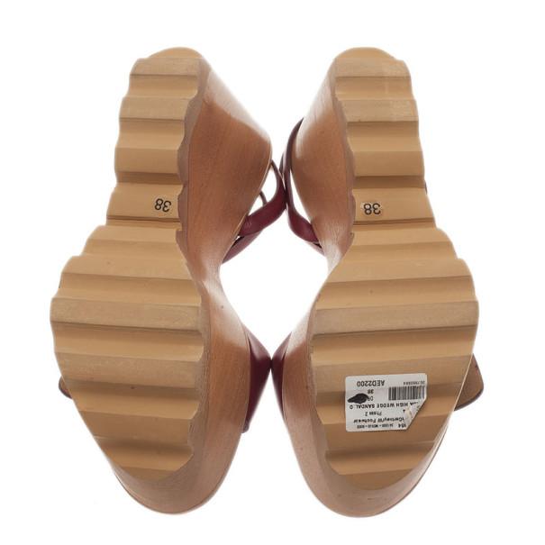 Stella McCartney Bordeaux Faux Leather Buckle Ankle Strap Wedges Size 38