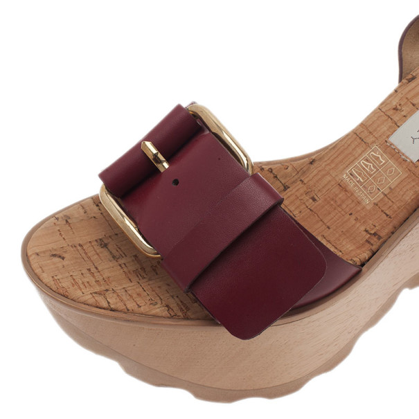 Stella McCartney Bordeaux Faux Leather Buckle Ankle Strap Wedges Size 38