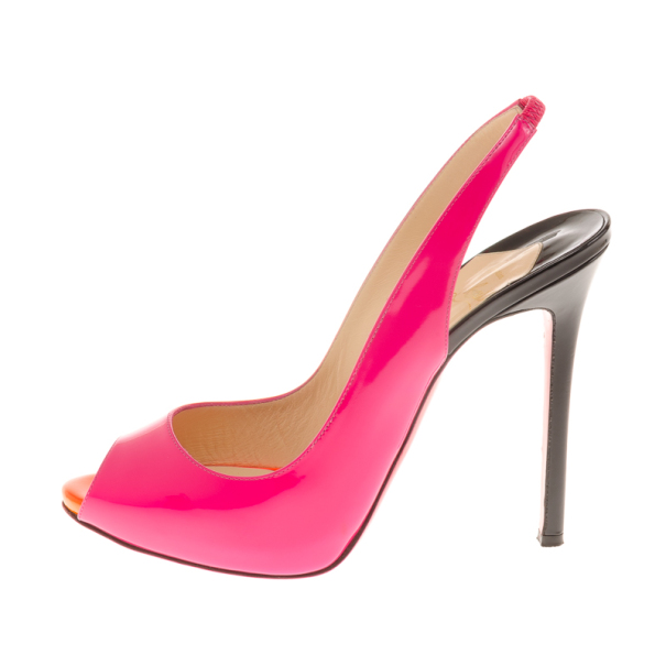 Christian Louboutin Flo Patent Slingback Sandals in Rose Matador Size 40.5