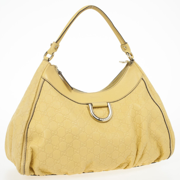 Gucci Yellow Guccissima Leather D Gold Medium Hobo