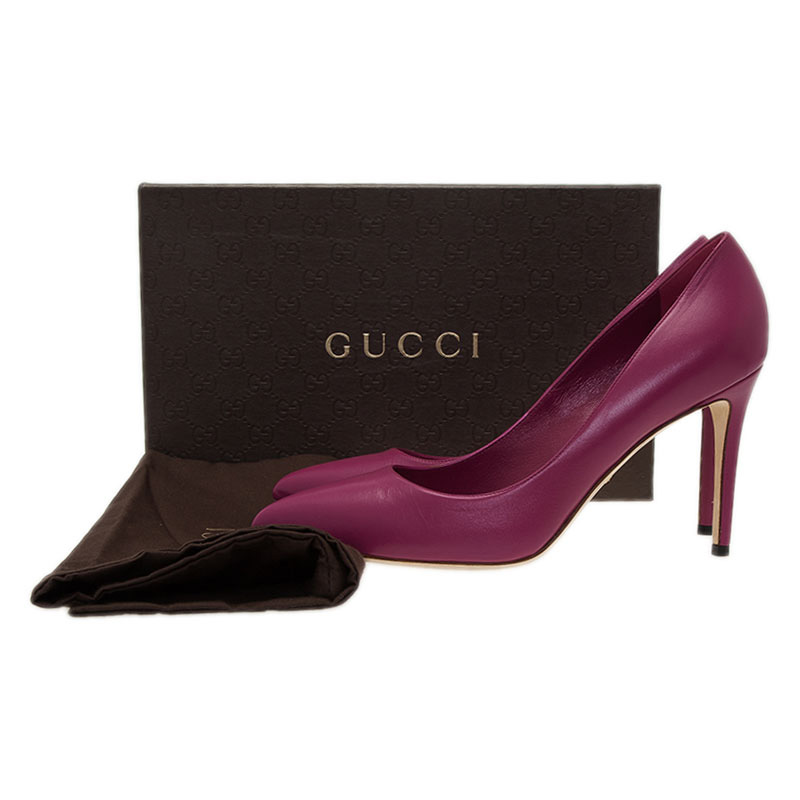 Gucci Purple Leather Brooke Pointed Toe Pumps Size 40