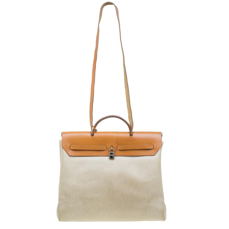 Hermes Tan/Beige Toile Canvas Cabas Herbag MM 2 in 1 Shoulder Bag