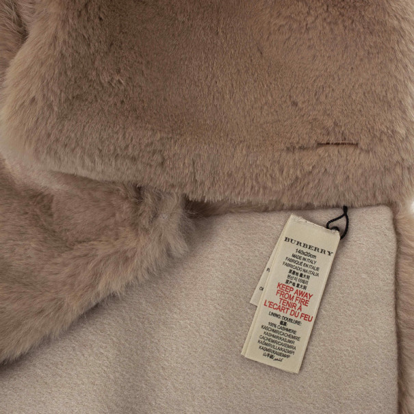 Burberry Beige Rabbit Fur and Cashmere 140x20cm Stole