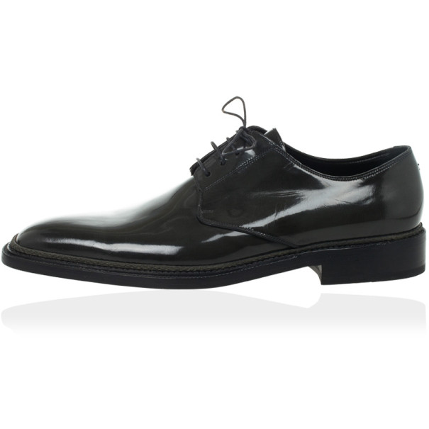 Dolce and Gabbana Grey Patent Lace Up Oxfords Size 42.5