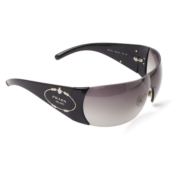 Prada Black Logo Shield Woman Sunglasses