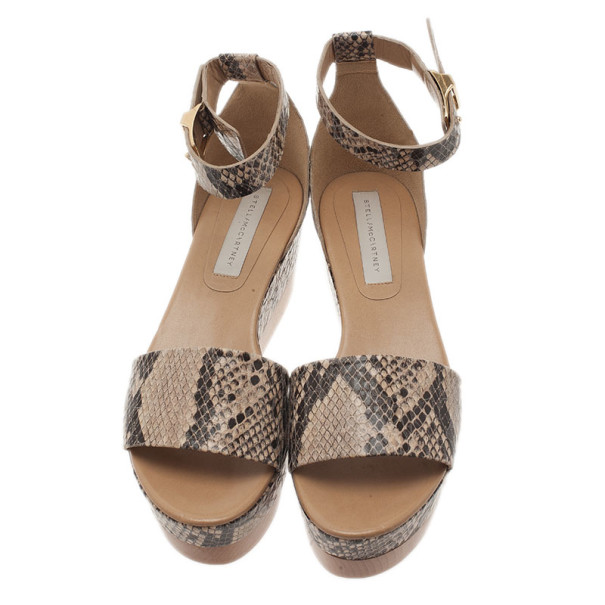 Stella McCartney Beige Faux Python Ankle Strap Wedges Size 41