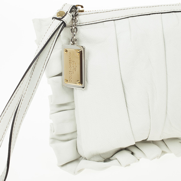 Dolce and Gabbana White Pleated Leather Ruffle Zip Clutch