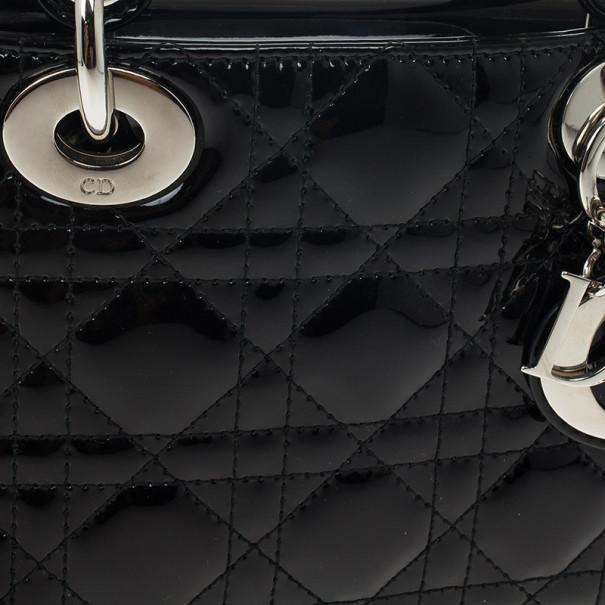 Christian Dior Black Patent Mini Lady Dior Bag