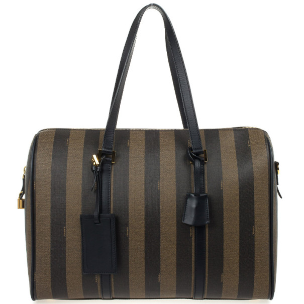 Fendi Brown and Tobacco Striped Spalmati Duffel Bag