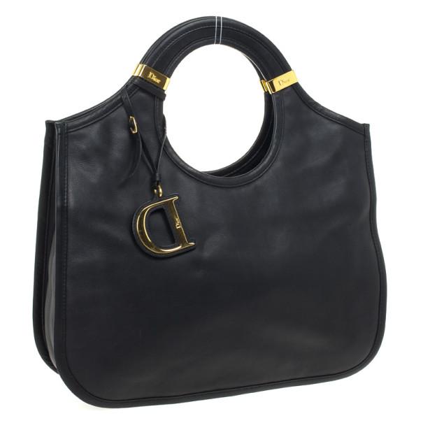 Dior Diorita Black Leather Medium Zipped Hobo