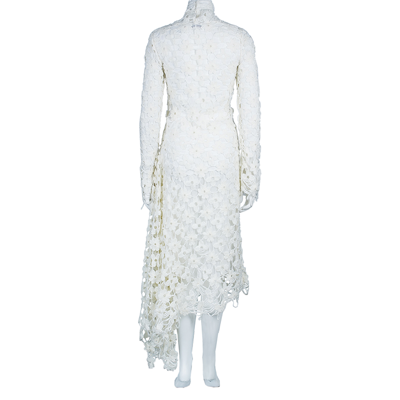 Stella McCartney White Daisy Embroidery Turtle Neck Dress XS