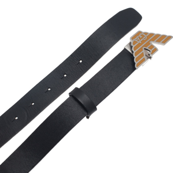 Emporio Armani Black Leather One Size Belt 110CM