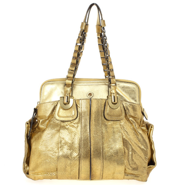 Chloe Metallic Gold Leather Heloise Tote