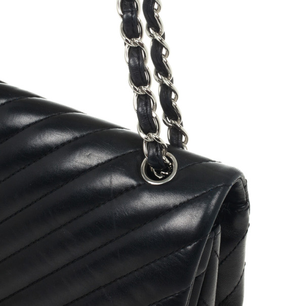 Chanel Black Quilted Leather Chevron Jumbo Flap Bag