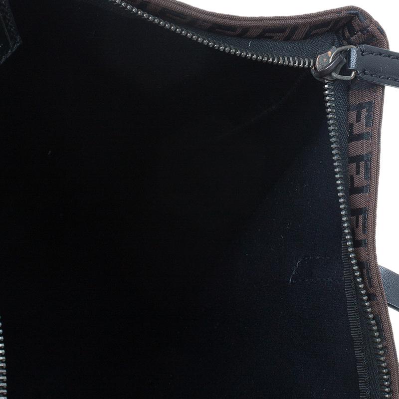 Fendi Chocolate Zucchino Canvas Shopper Zip Tote Bag