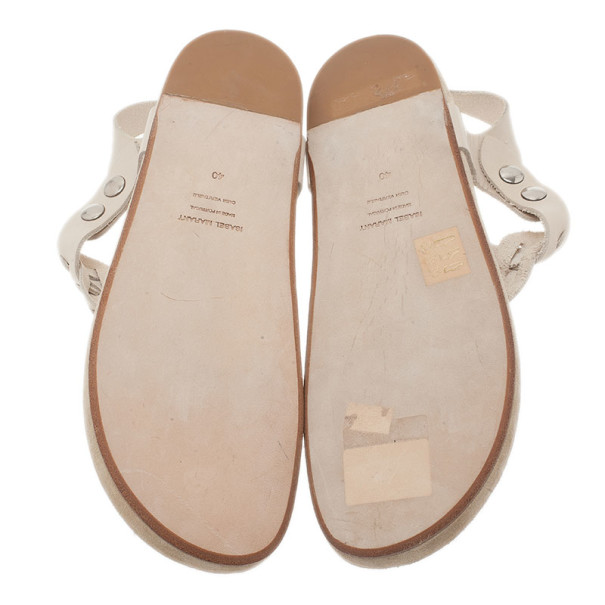 Isabel Marant Cream Braided Leather Brook Sandals Size 40
