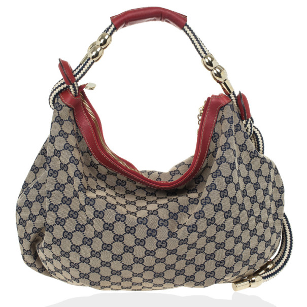 Gucci Navy GG Canvas 'Acapulco' Large Hobo