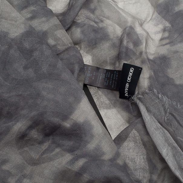 Giorgio Armani Dark Grey Unisex Modal Blend Logo Square Scarf
