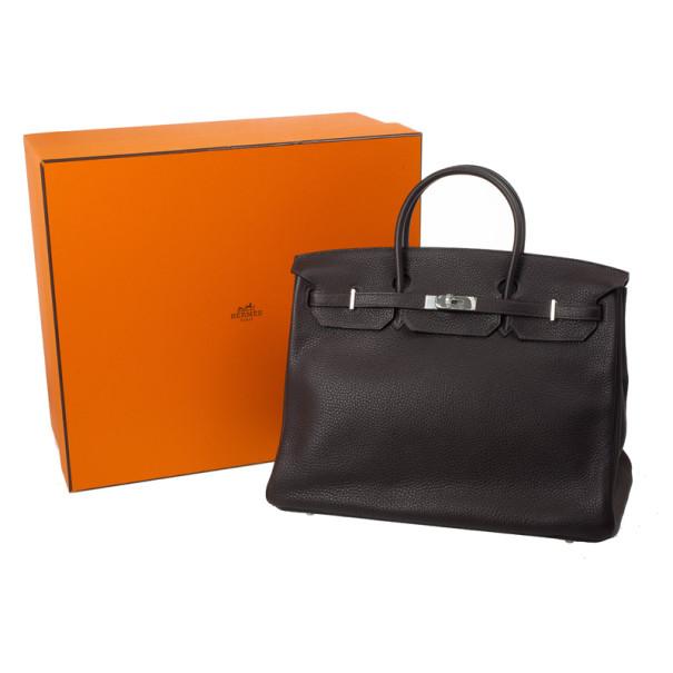 Hermes Birkin 40cm Togo Leather Darkbrown Handbag with Silver Hardware