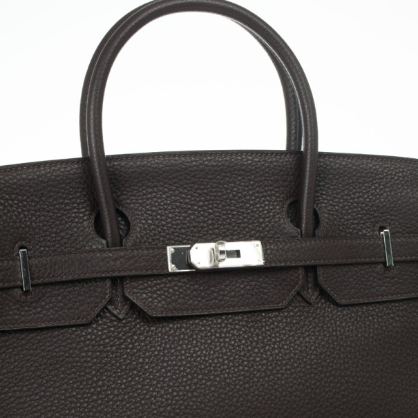 Hermes Birkin 40cm Togo Leather Darkbrown Handbag with Silver Hardware