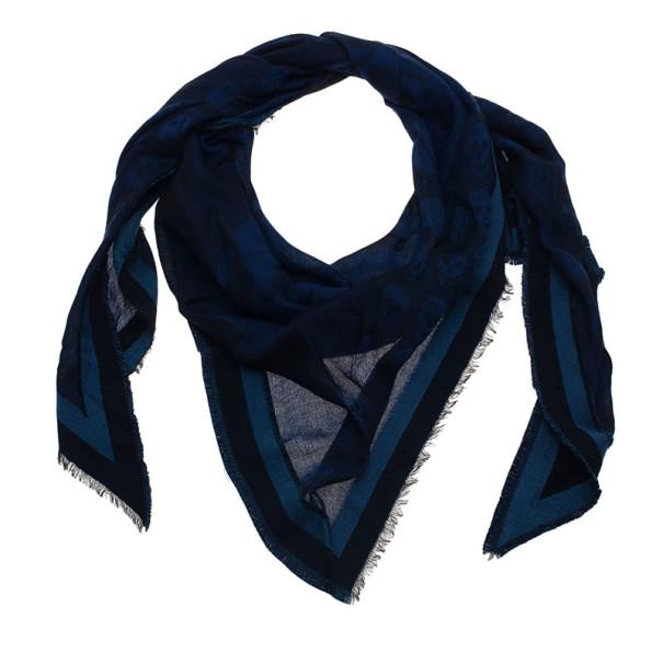 Alexander McQueen Blue Unisex Modal Cashmere Skull Triangle Kefia